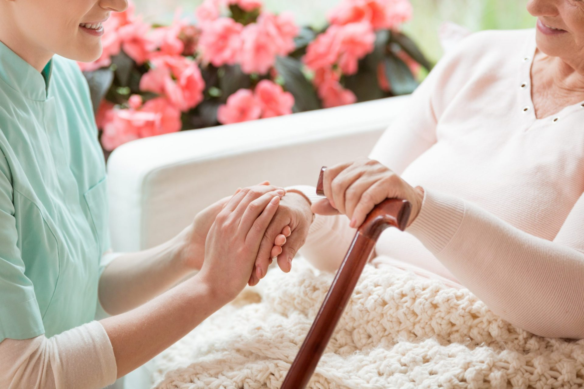 Closeup of a caring volunteer working in a retirement home holdi